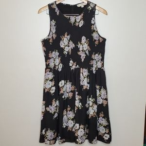 Loft A line sleeveless dress with rouched top
